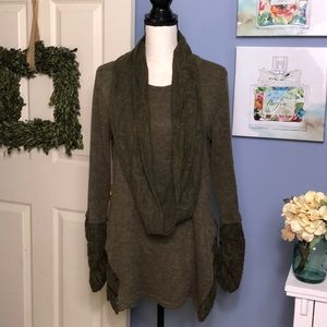 A'reve Anthropologie sweater with attached scarf